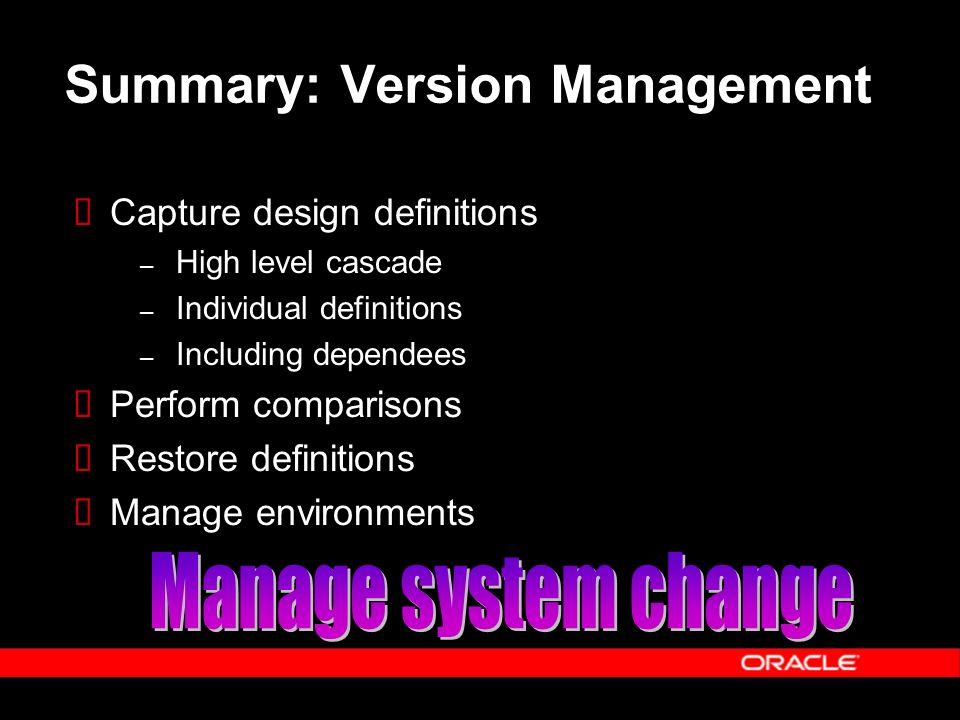 Summary: Version Management