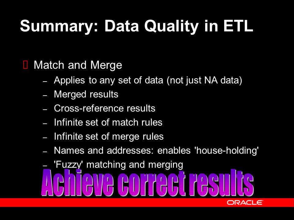 Summary: Data Quality in ETL