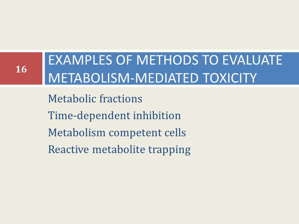 EXAMPLES OF METHODS TO EVALUATE METABOLISM-MEDIATED TOXICITY