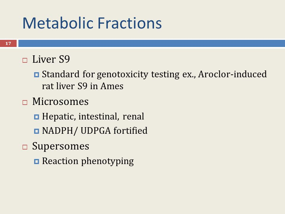 Metabolic Fractions Liver S9 Microsomes Supersomes