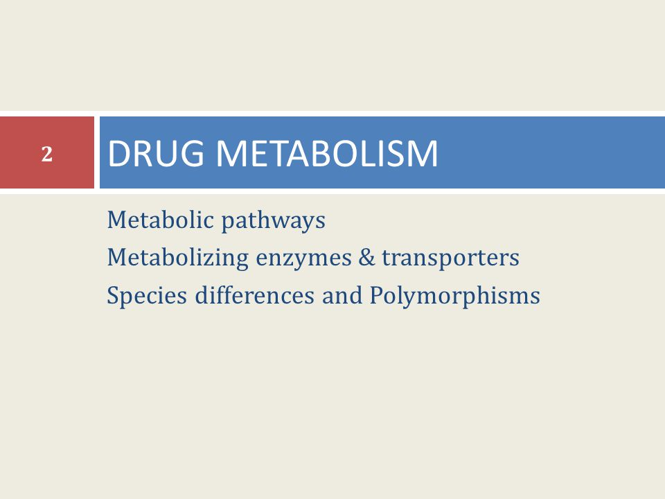 DRUG METABOLISM Metabolic pathways Metabolizing enzymes & transporters