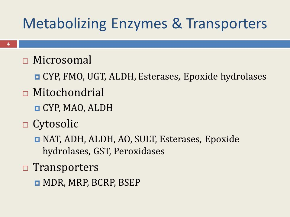 Metabolizing Enzymes & Transporters