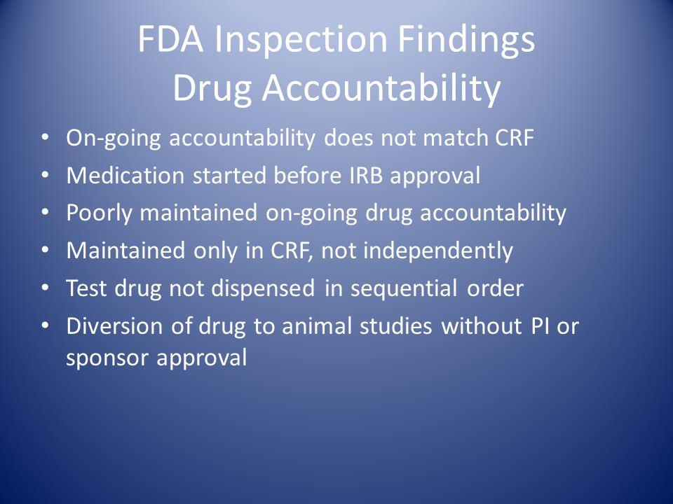 FDA Inspection Findings Drug Accountability