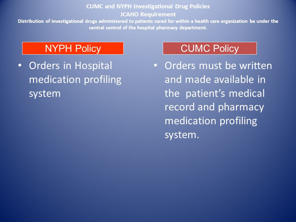Orders in Hospital medication profiling system