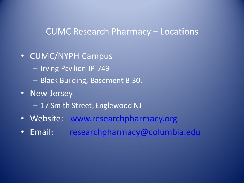 CUMC Research Pharmacy – Locations