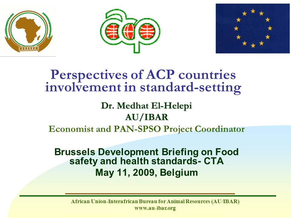 Perspectives of ACP countries involvement in standard-setting