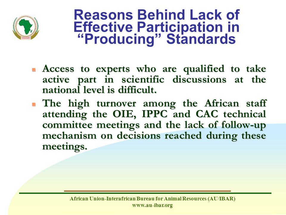 Reasons Behind Lack of Effective Participation in Producing Standards
