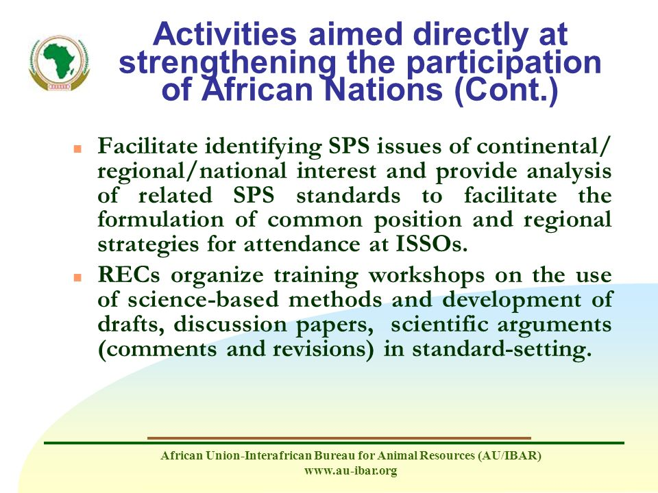 Activities aimed directly at strengthening the participation of African Nations (Cont.)