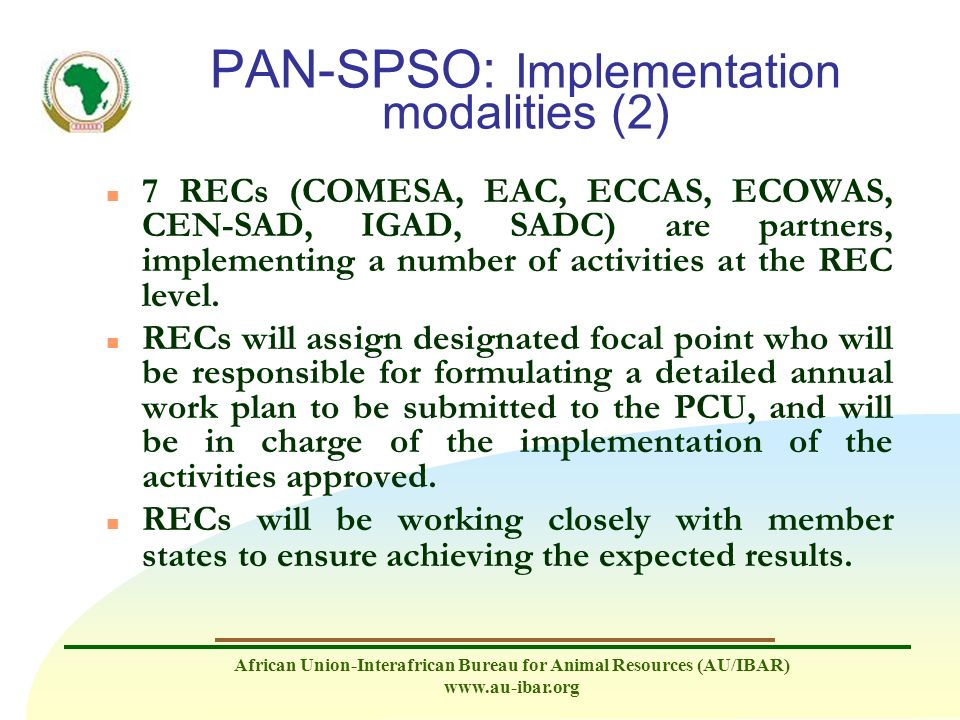 PAN-SPSO: Implementation modalities (2)