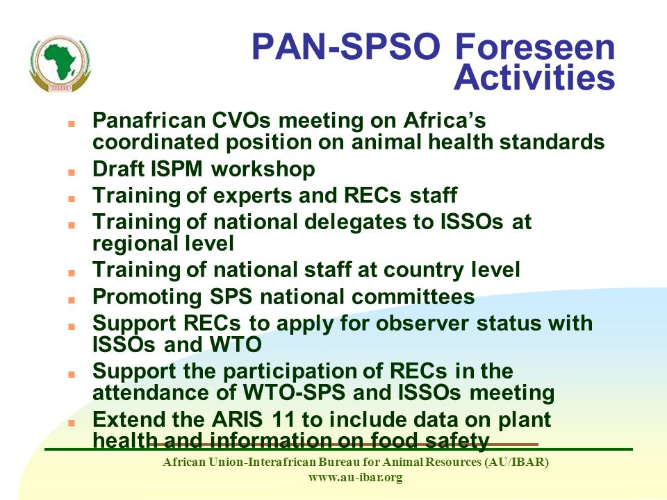 PAN-SPSO Foreseen Activities