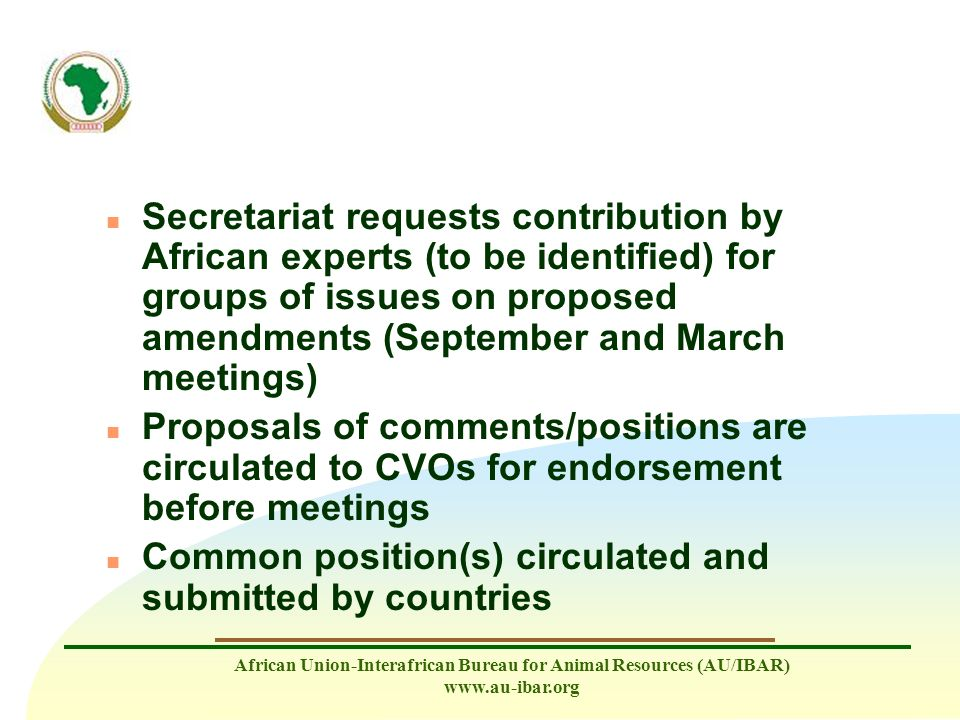Secretariat requests contribution by African experts (to be identified) for groups of issues on proposed amendments (September and March meetings)