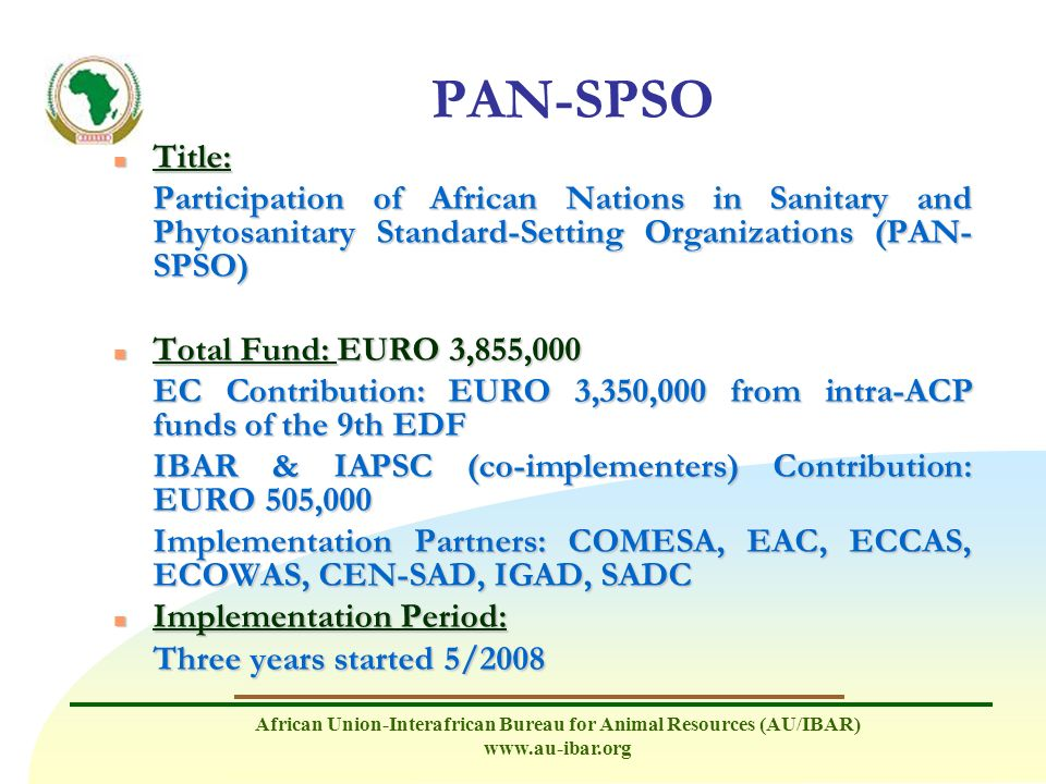 PAN-SPSO Title: Participation of African Nations in Sanitary and Phytosanitary Standard-Setting Organizations (PAN-SPSO)