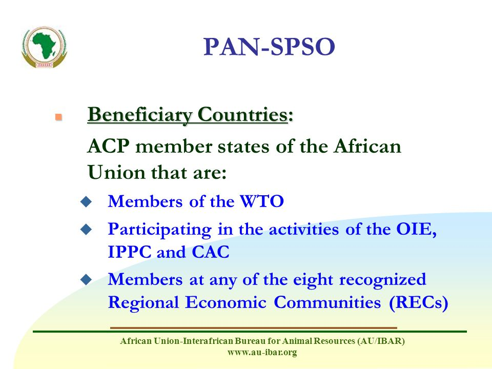 PAN-SPSO Beneficiary Countries: