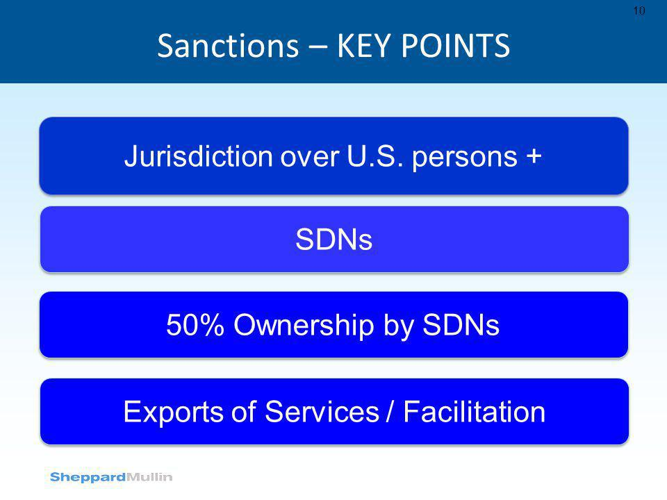 Sanctions – KEY POINTS Jurisdiction over U.S. persons + SDNs
