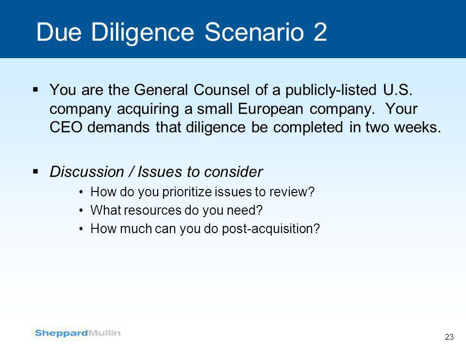 Due Diligence Scenario 2