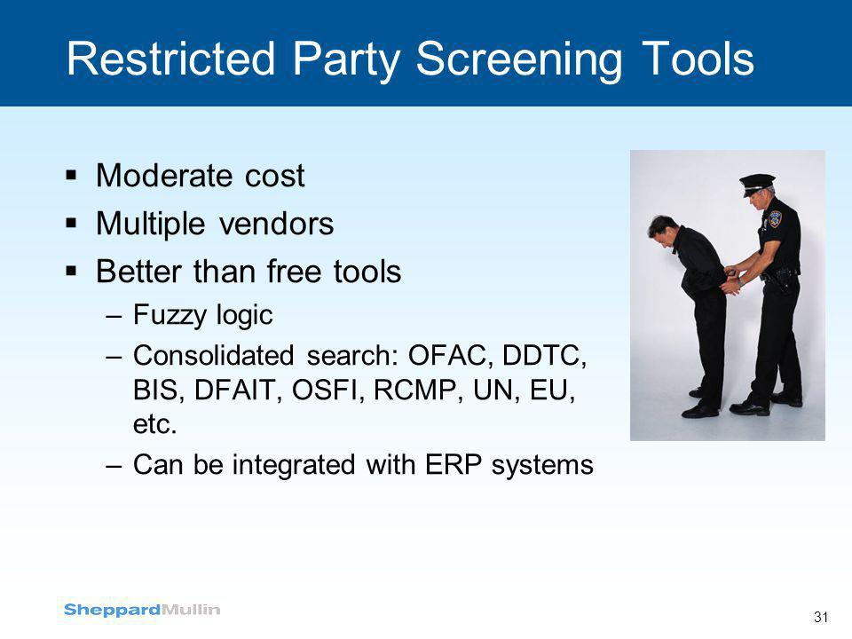 Restricted Party Screening Tools