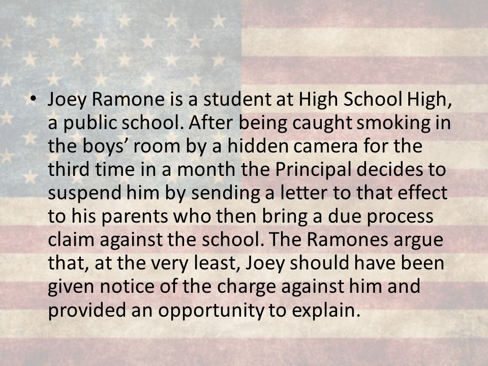 Joey Ramone is a student at High School High, a public school
