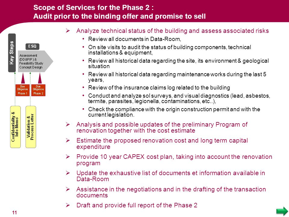 Scope of Services for the Phase 2 : Audit prior to the binding offer and promise to sell