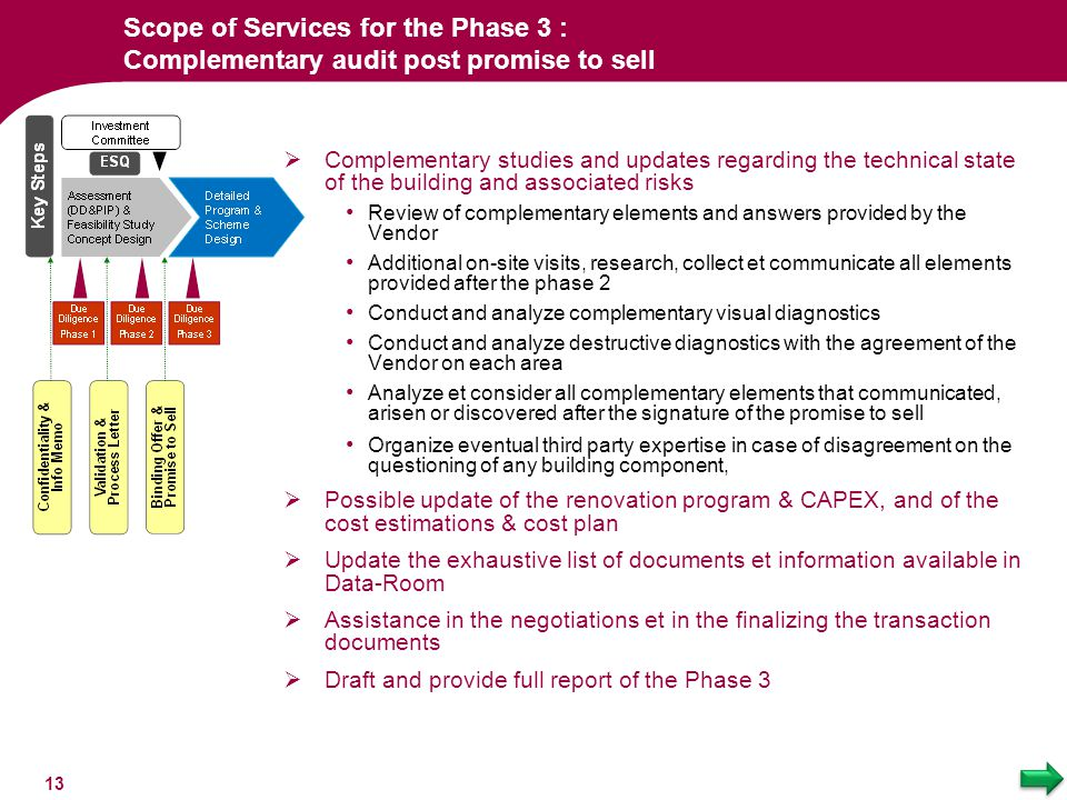 Scope of Services for the Phase 3 : Complementary audit post promise to sell