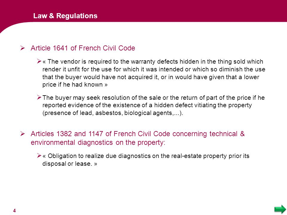 Article 1641 of French Civil Code