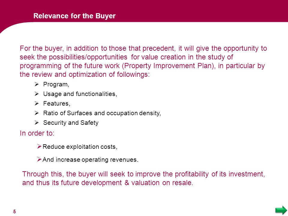 Relevance for the Buyer