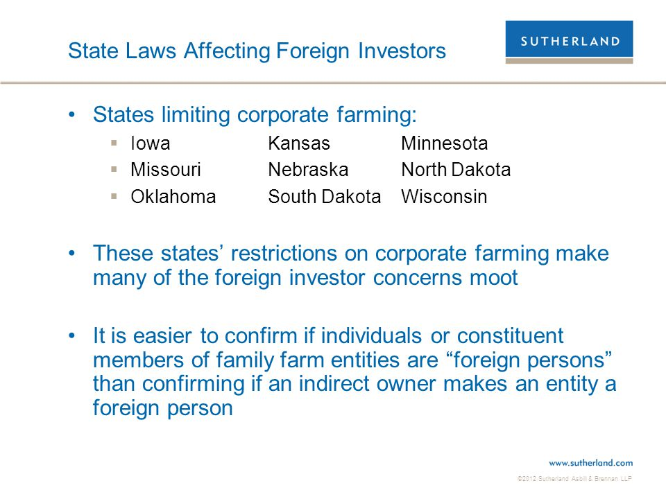 State Laws Affecting Foreign Investors