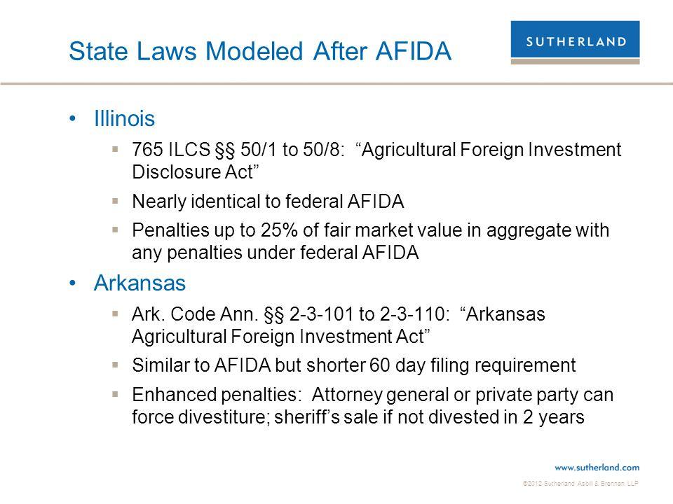 State Laws Modeled After AFIDA