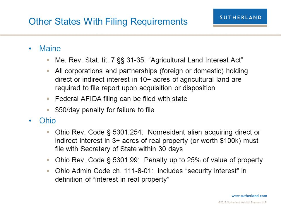 Other States With Filing Requirements