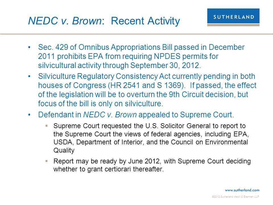 NEDC v. Brown: Recent Activity