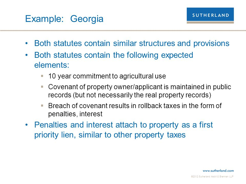 Example: Georgia Both statutes contain similar structures and provisions. Both statutes contain the following expected elements: