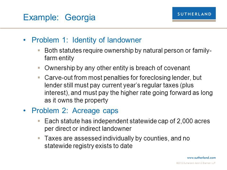 Example: Georgia Problem 1: Identity of landowner