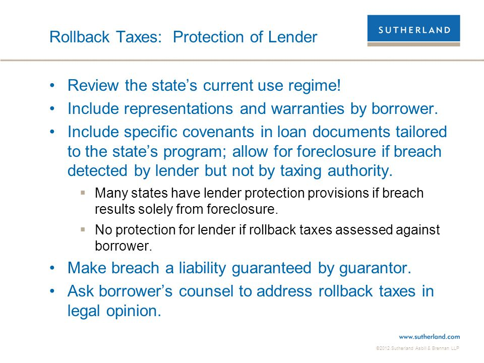 Rollback Taxes: Protection of Lender