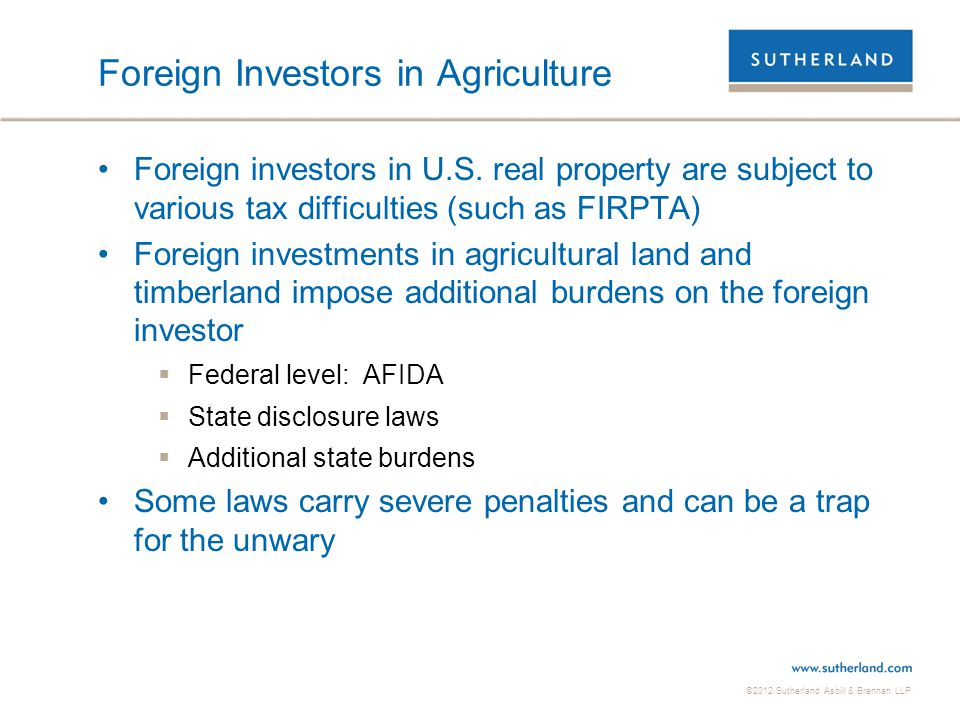 Foreign Investors in Agriculture