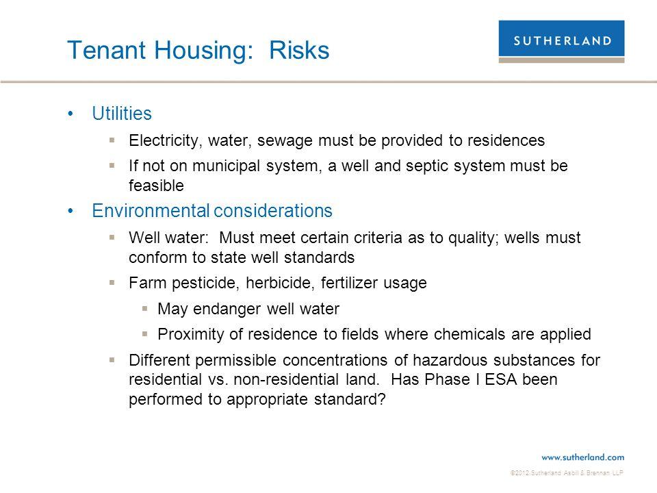 Tenant Housing: Risks Utilities Environmental considerations
