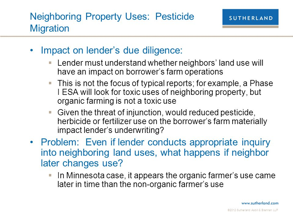 Neighboring Property Uses: Pesticide Migration