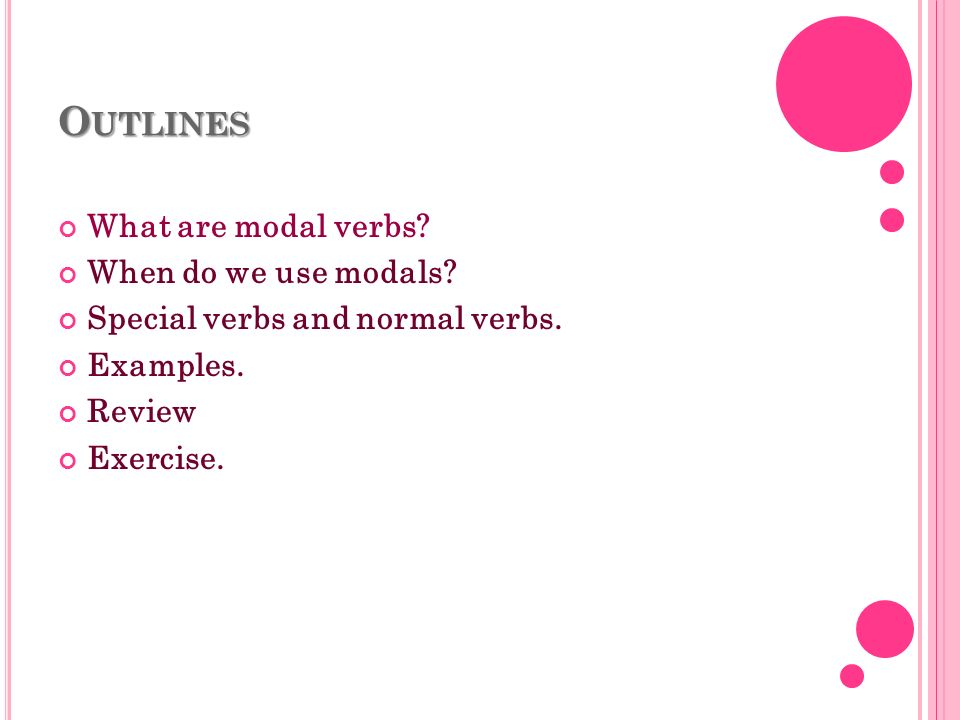 Outlines What are modal verbs When do we use modals