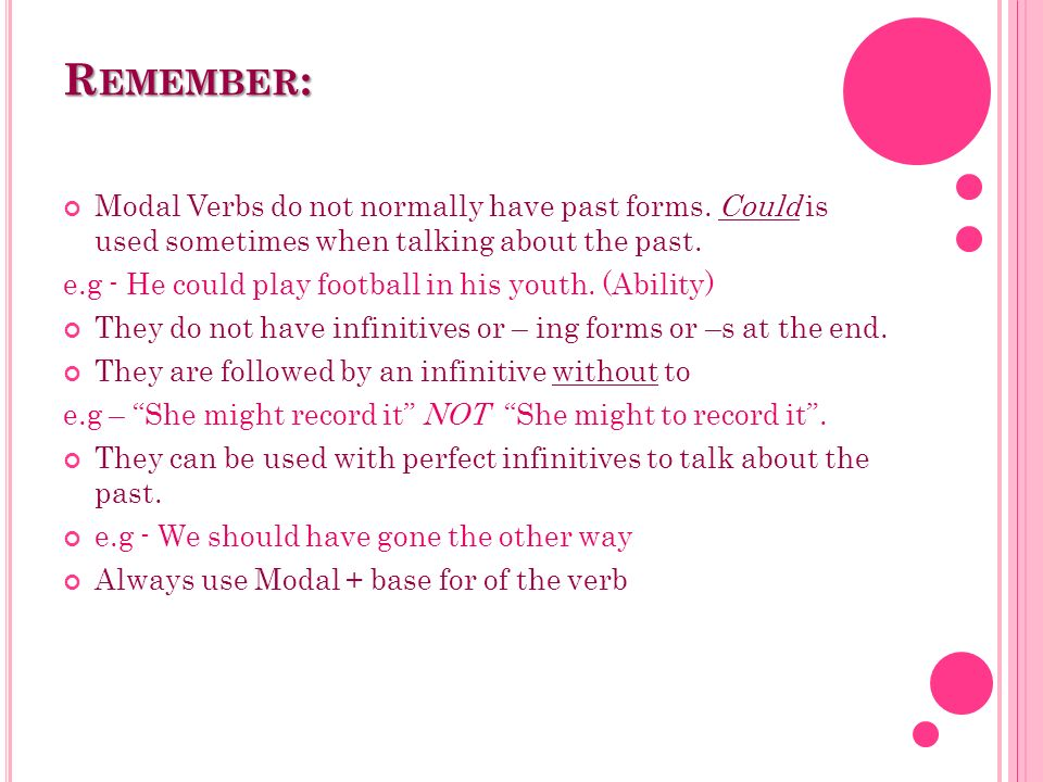 Remember: Modal Verbs do not normally have past forms. Could is used sometimes when talking about the past.