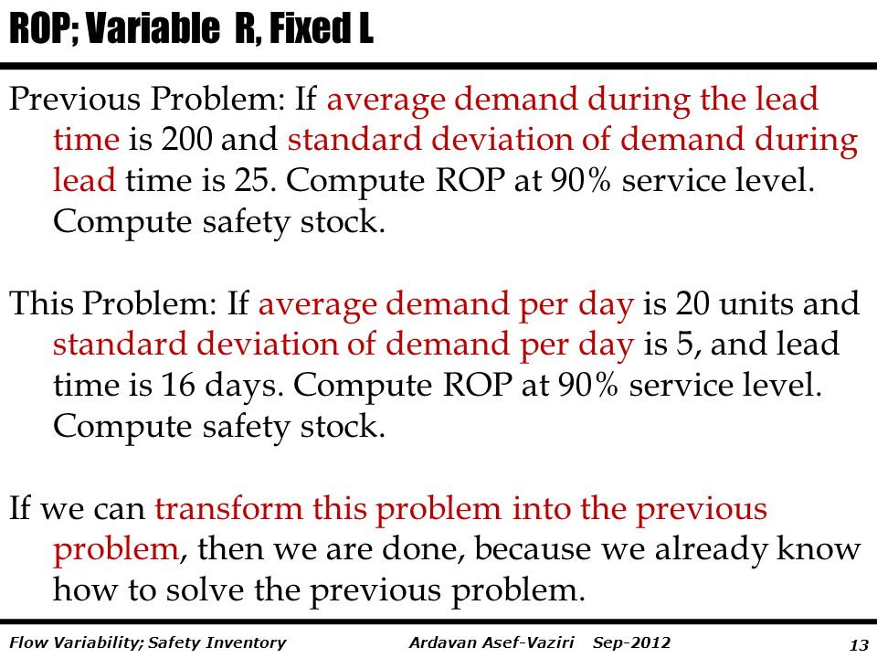 ROP; Variable R, Fixed L