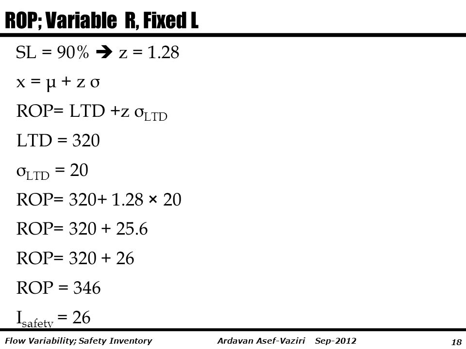 ROP; Variable R, Fixed L SL = 90%  z = 1.28 x = μ + z σ