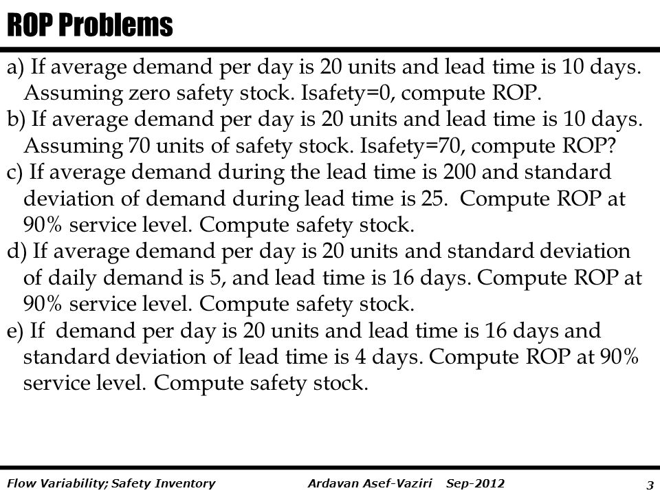 ROP Problems a) If average demand per day is 20 units and lead time is 10 days. Assuming zero safety stock. Isafety=0, compute ROP.