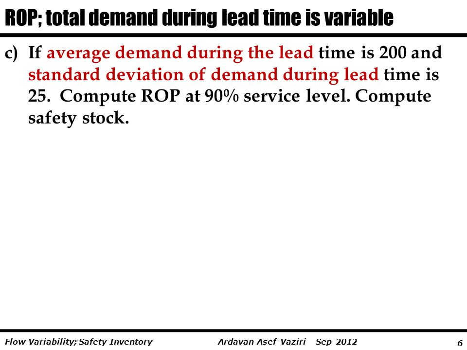 ROP; total demand during lead time is variable