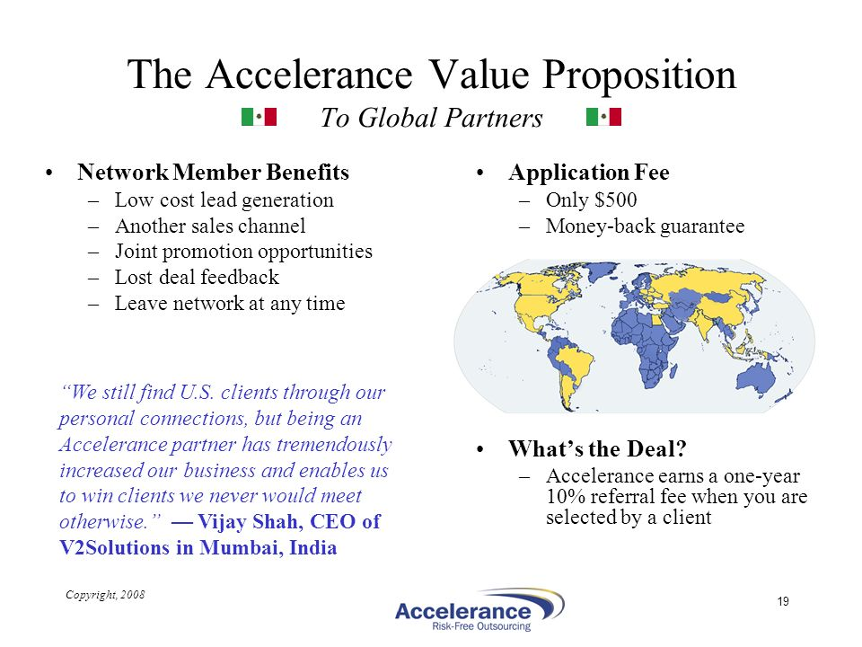 The Accelerance Value Proposition To Global Partners