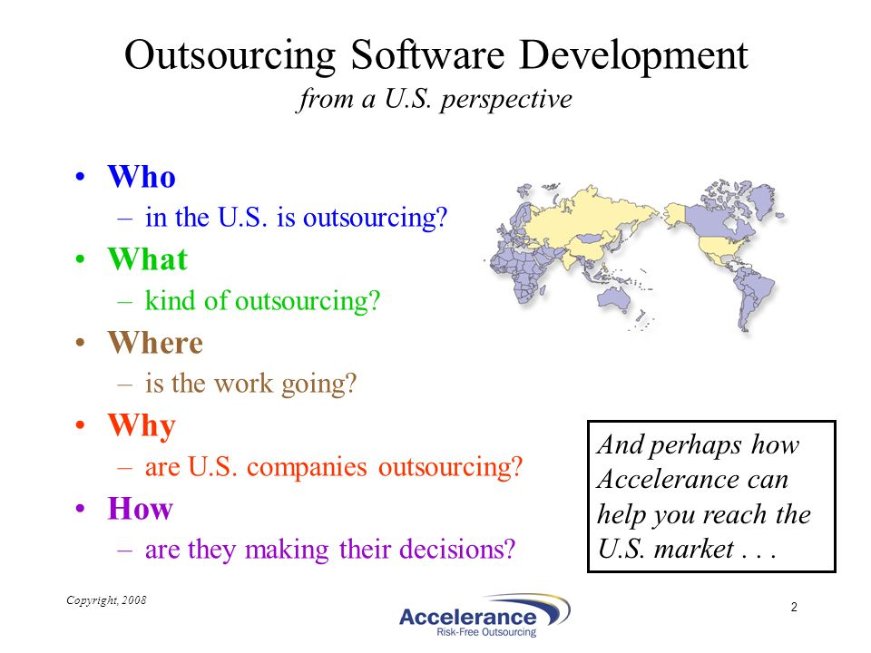 Outsourcing Software Development from a U.S. perspective
