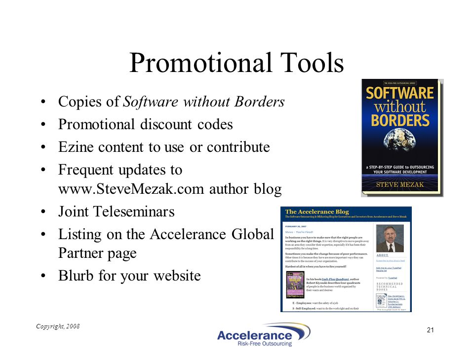 Promotional Tools Copies of Software without Borders