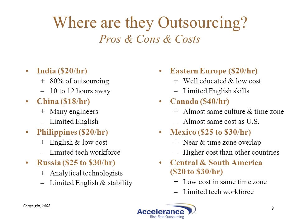 Where are they Outsourcing Pros & Cons & Costs