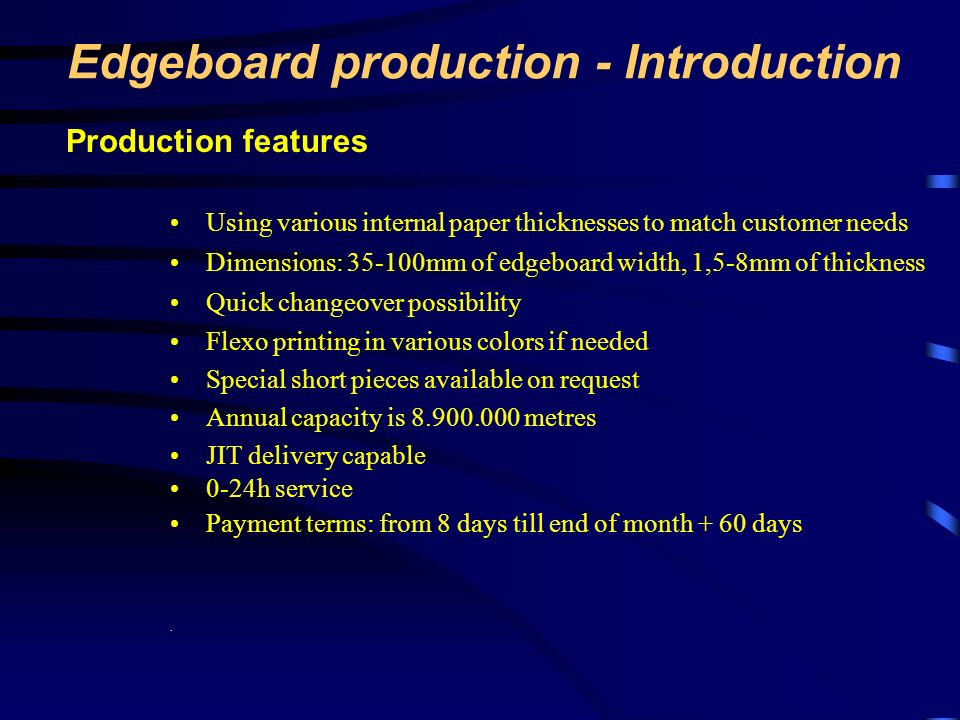 Edgeboard production - Introduction
