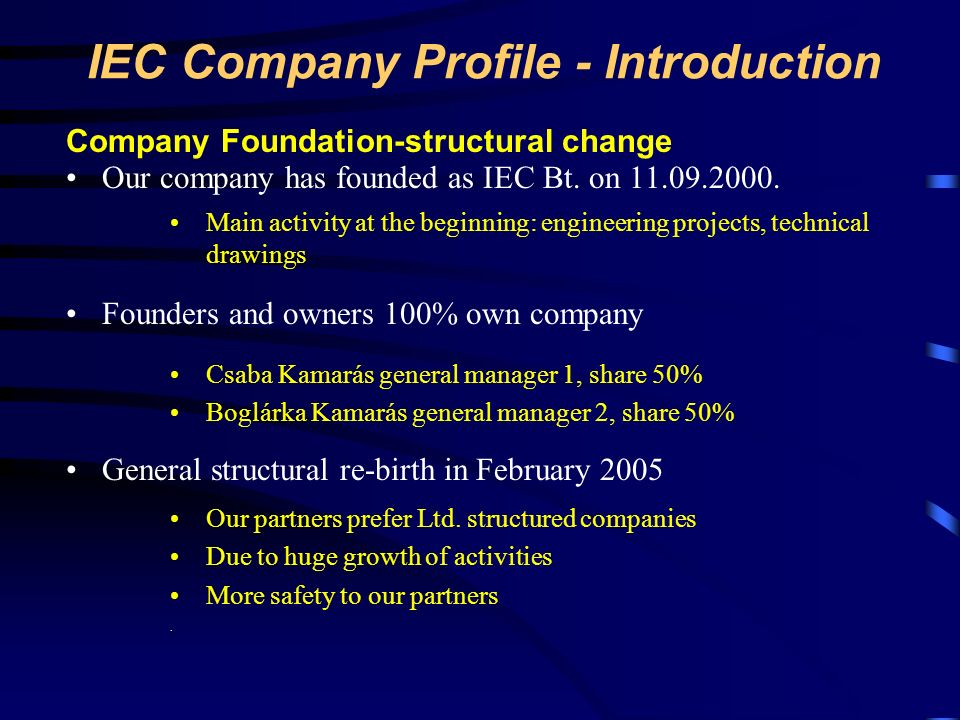 IEC Company Profile - Introduction