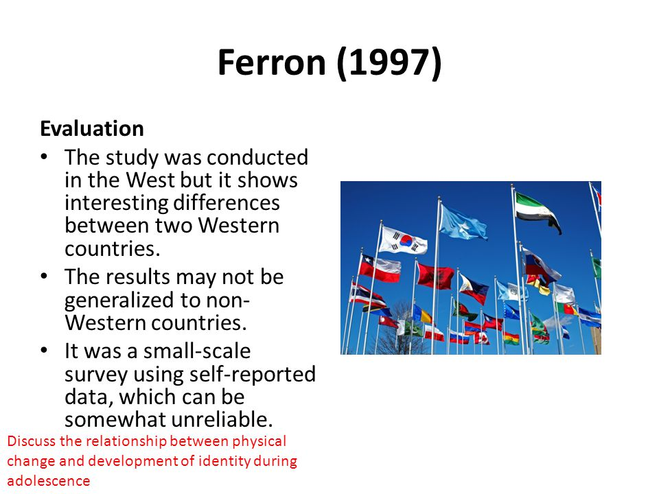 Ferron (1997) Evaluation The study was conducted in the West but it shows interesting differences between two Western countries.