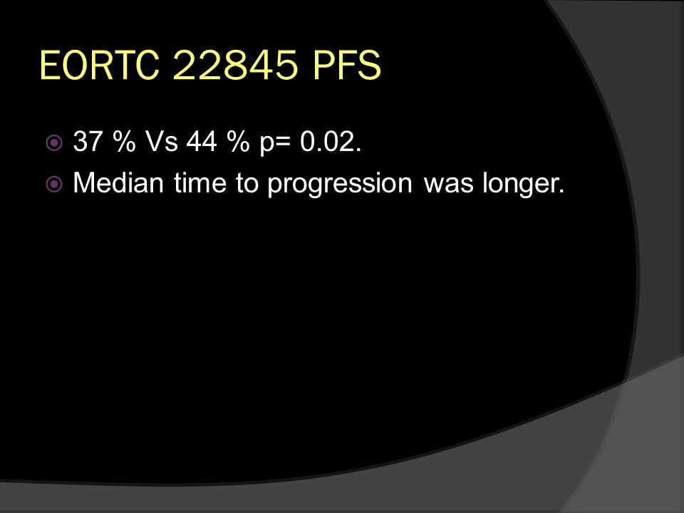 EORTC PFS 37 % Vs 44 % p= Median time to progression was longer.