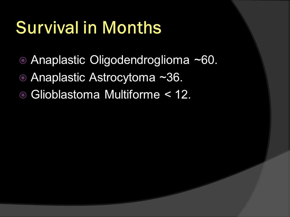 Survival in Months Anaplastic Oligodendroglioma ~60.